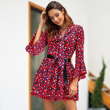 цена BREE Vintage leopard dress women Ruffles flare sleeve bodycon short sexy dress print vestidos festa онлайн в 2017 году