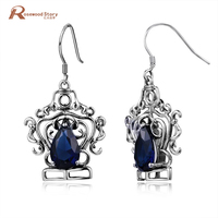 Handmade Fashion Sapphire Stones Vintage Dangle Bohemian Earrings Jewelry Chinese Ethnic Earrings For Lady Wedding Party