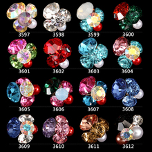 New Glitter Rhinestone Alloy Nail Art 200pcs/pack Flowers Hollow Nail Jewelry Accessories,Charm 3d DIY Nail Decoration Tools