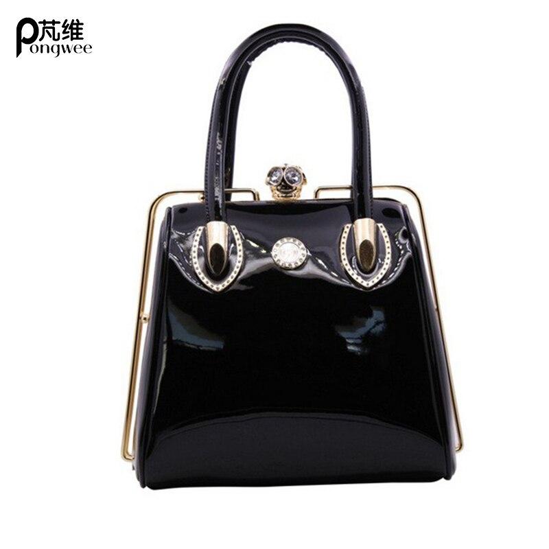PONGWEE Fashion Skull Diamonds Luxury Handbags Women Bag Designer 2018 Tote Bags Women Famous Brand Crystal Ladies Bags