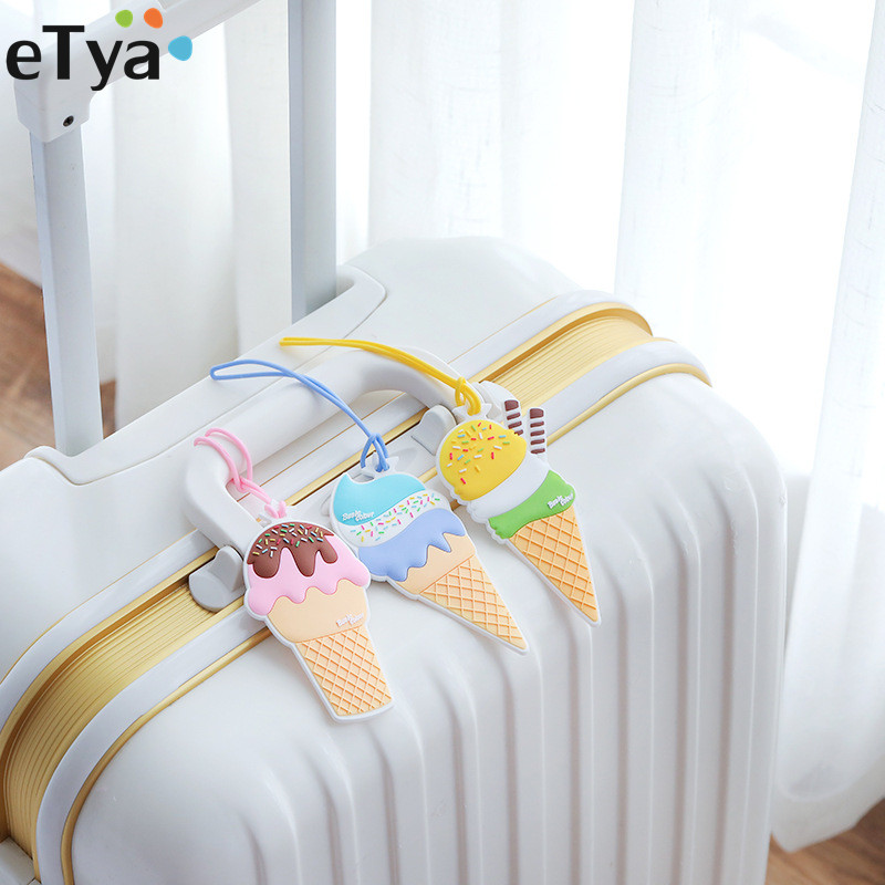 eTya Ice Cream Women Men Travel Luggage Tag Cover Silica Gel Girl Sweet Suitcase Baggage Boarding Baggage ID Name Label Tags ice cream silica gel mold