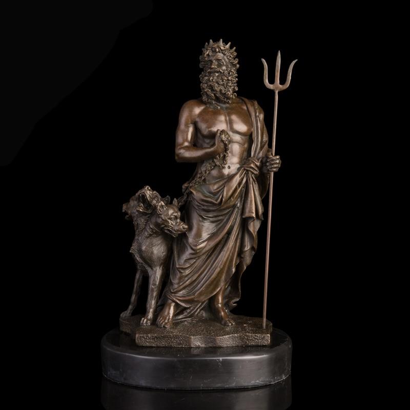 Arts Crafts Copper Ancient Greek Myth Pluto Bronze Statue Western Mythology Hades with Cerberus Sculptures Wealth God Escultura