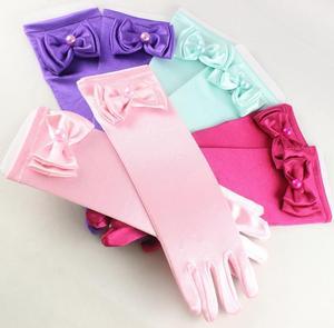 Эластичные Длинные Сатиновые перчатки для девочек на свадьбу, детское нарядное платье с бантом и жемчужными перчатками, яркие перчатки для ...