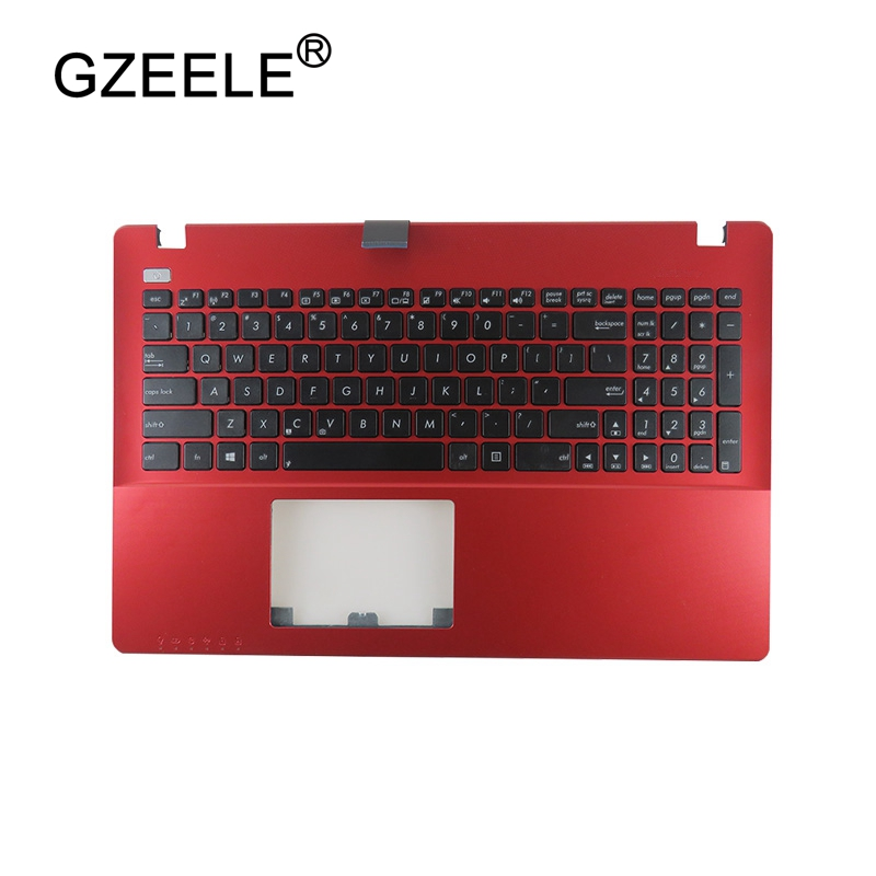 GZEELE New for ASUS K550 K550C K550CA K550CC K550J K550JD K550JK K550JX US laptop keyboard red C Cover PalmRest English version george kini gk 11 1 1r 21