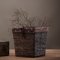 Vintage Handmade Grass Woven Storage Basket Retro Hand Woven Rattan Grass Storage Box Home Decoration Finishing