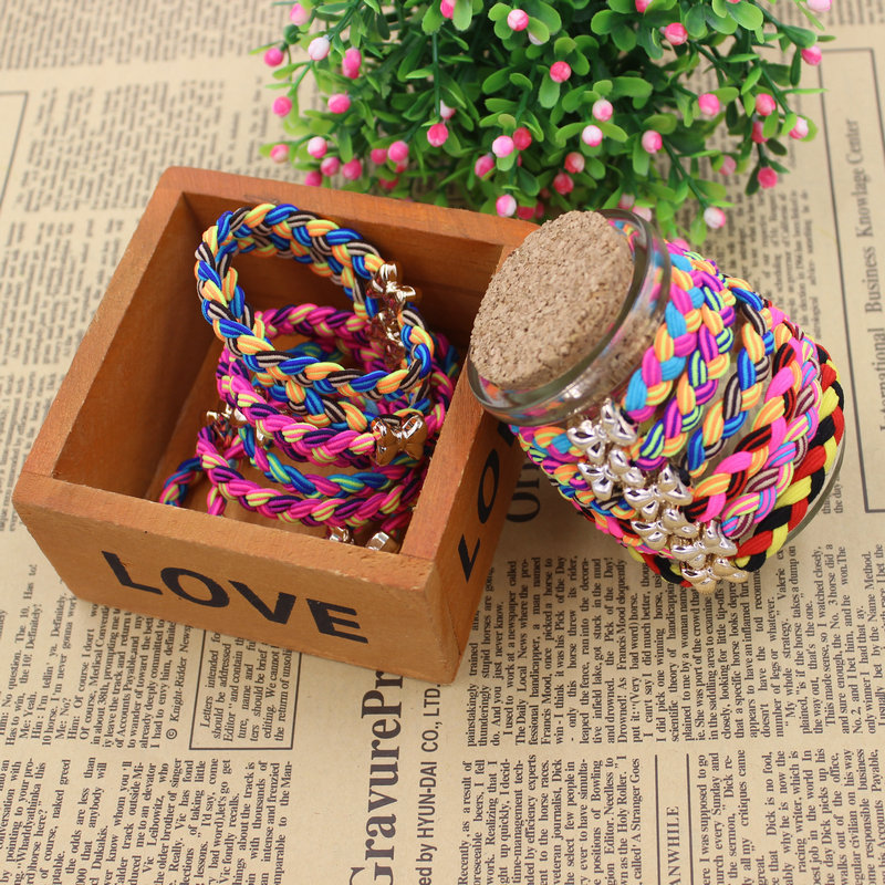 KAKU12 2015 New Fashion 5CM Hair Holders Weave Gold Plated Bowknot Rubber Bands Elastics Girl