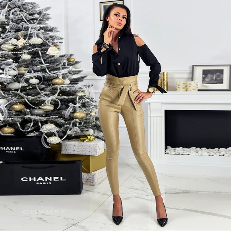 InstaHot Gold Black Belt High Waist Pencil Pant Women Faux Leather PU Sashes Long Trousers Casual