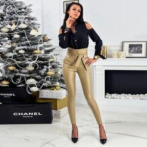 Image 5 - InstaHot altın siyah kemer yüksek bel kalem pantolon kadın suni deri PU Sashes uzun pantolon rahat seksi özel tasarım moda