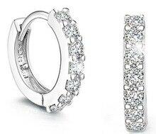 2015 New Arrival Silver Crystal Flower Shape Ear Stud Earrings For Women Brincos Fashion Jewelry Pendientes Eh0002