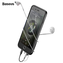 Baseus 3in1 Audio Case For iPhone 8 7 Plus Coque Hard PC Dual Headphone + Charging Port Back Phone Cover For iPhone 7Plus 8Plus baseus travel case tpu pc back cover for iphone 7 plus gold