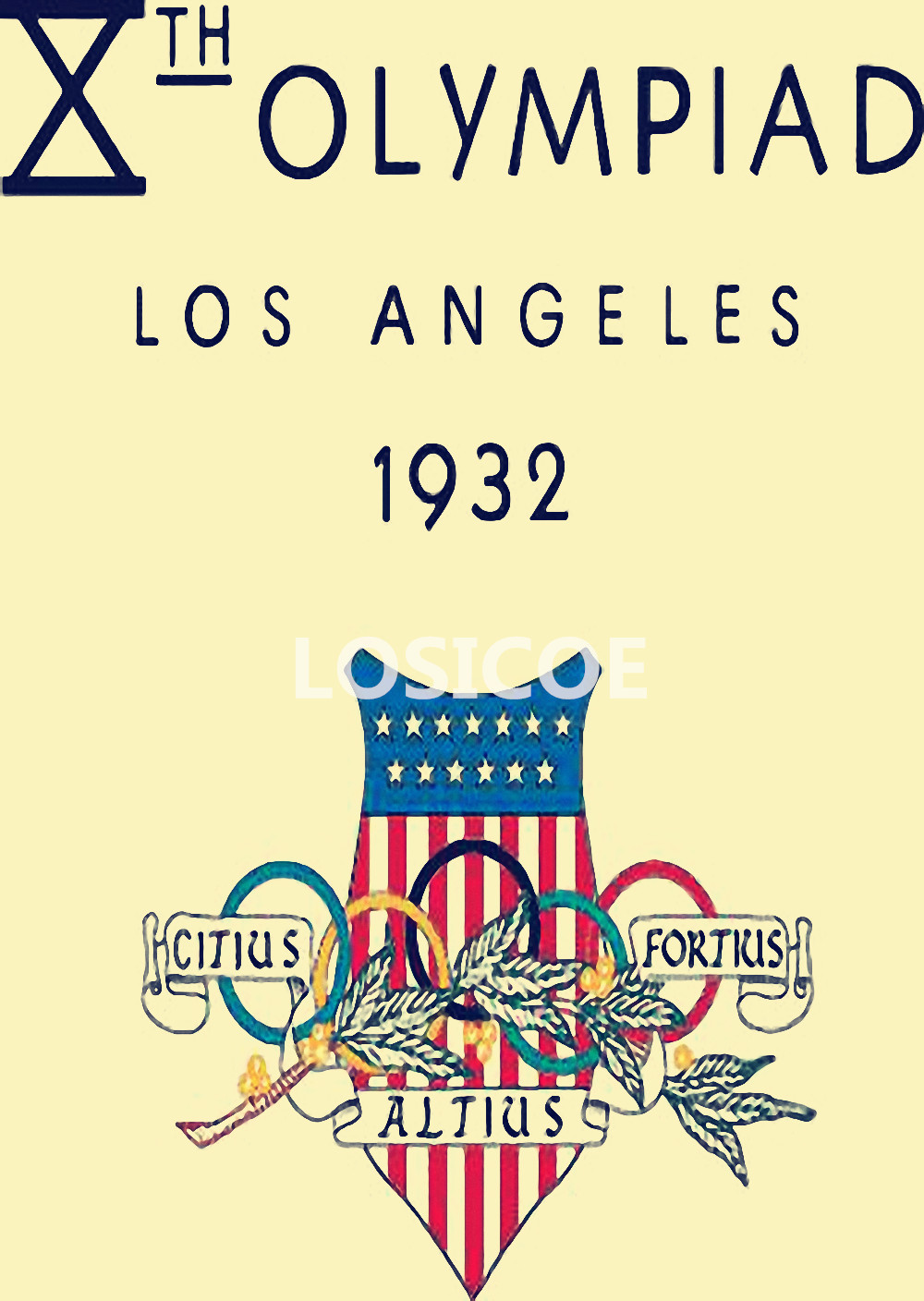 VINTAGE 1932 LOS ANGELES LA OLYMPIC GAMES A4 POSTER PRINT