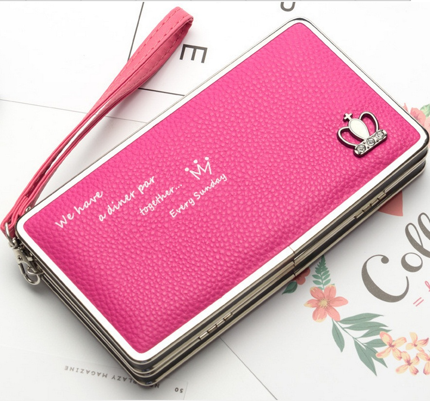 New style women's Crown pattern pencil case wallets Ms. Lunch box style purses Mobile IPhone 6s 7 plus Bags for woman N1230 aosbos fashion portable insulated canvas lunch bag thermal food picnic lunch bags for women kids men cooler lunch box bag tote