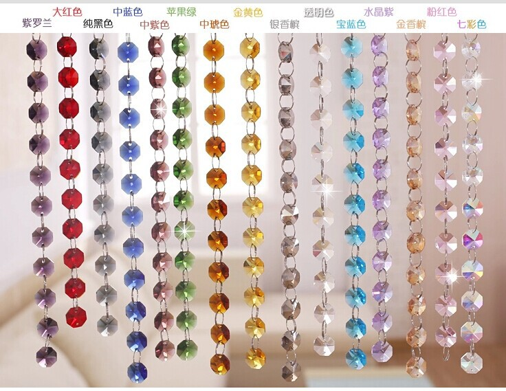 50 Meters Lot 14mm Mixed Colors Glass Garland Chains Crystal Lamp Chandelier Parts Ornament Hangign Prism In Figurines Miniatures From Home