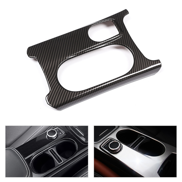 Car ABS Chrome / Carbon Fiber Texture Center Console Water Cup Holder Cover For Mercedes Benz A GLA CLA Class W176 X156 C117