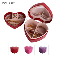 Collare Jewelry Storage Organizer Box Travel Makeup Cosmetic Case Mirror Leather Heart Women Wedding Decoration Gift