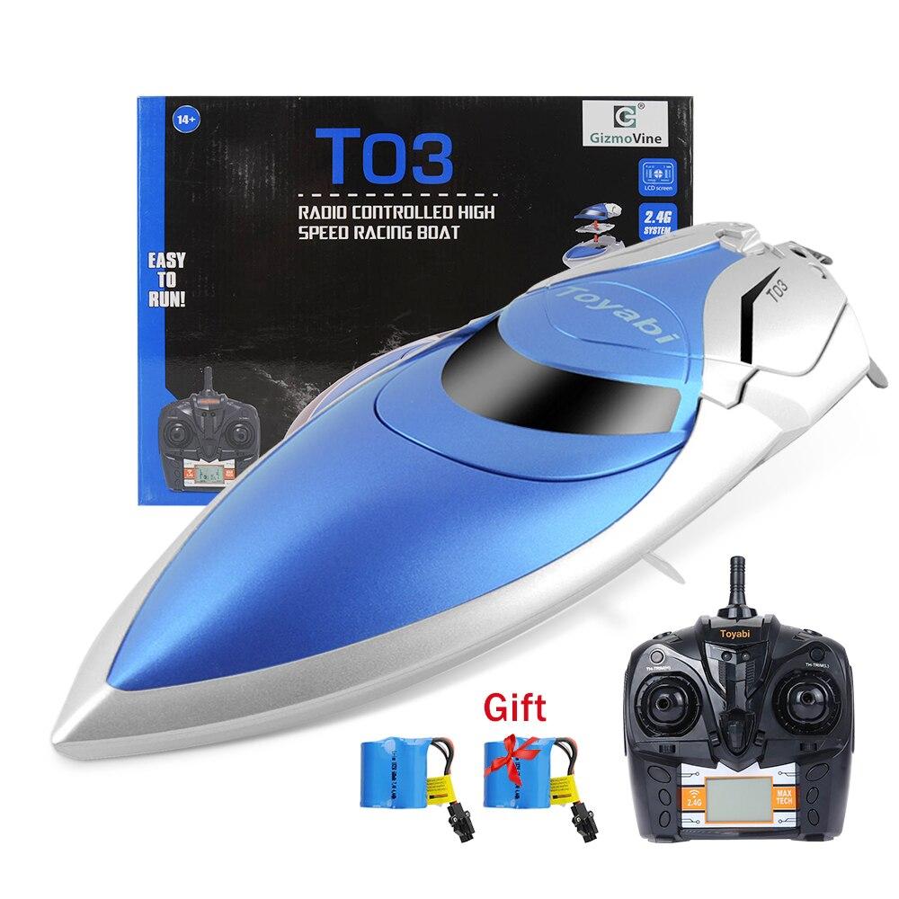 GizmoVine télécommande bateau haute vitesse RC bateau piscine jouets 4CH 2.4G RC jouets pour adultes et enfants + batterie jouets pour enfants cadeaux