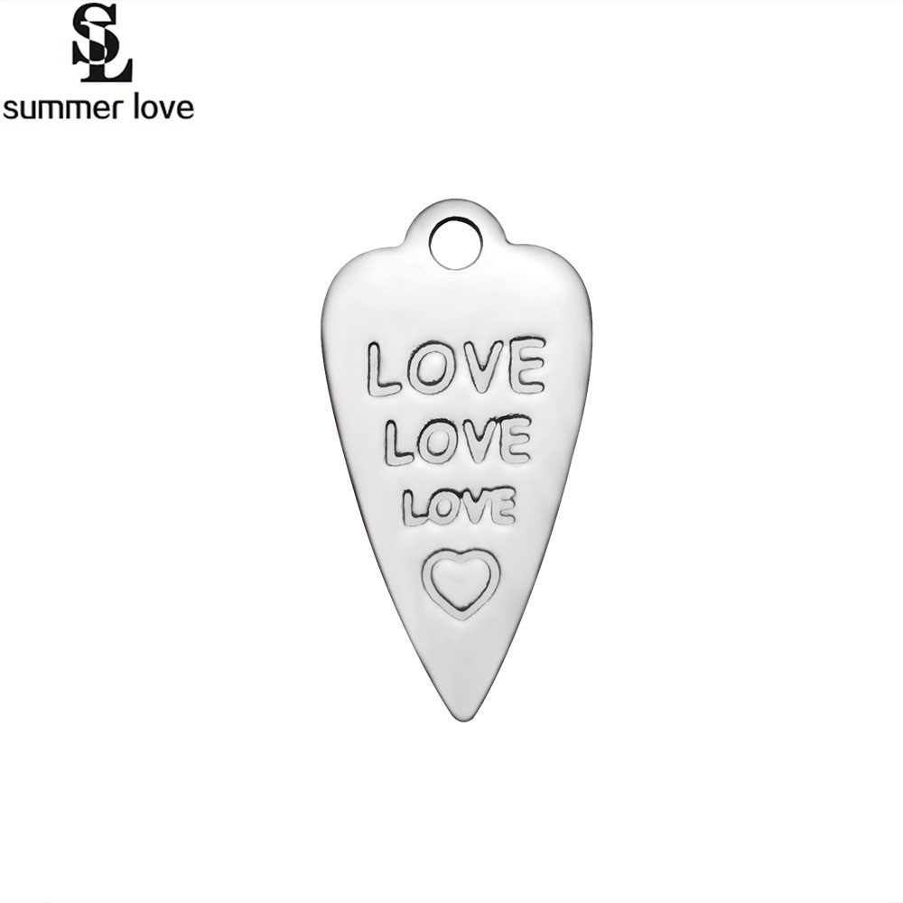 Summer Love 20 Pcs Charms Carrot Rabbit 8*16mm Letter Love Heart Design Stainless Steel Enamel Pendant Findings Accessories DIY