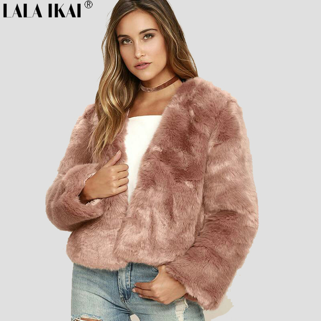 8a2a8b5f5eb Winter Women Solid Fluffy Hair Faux Fur Coat Black White Green Pink Wine  Red Plus Size 3XL Street lady Fur Jacket SWQ0364-45