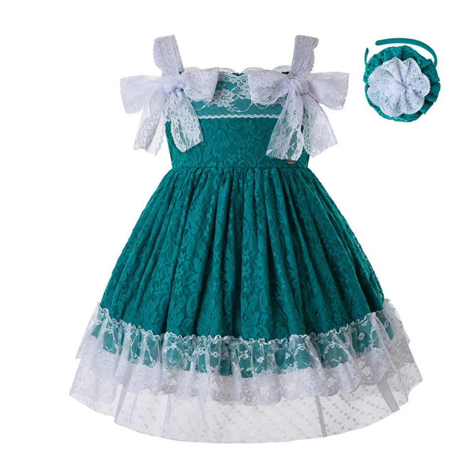 Pettigirl Newest Green Baby Girls DressesLace Flower Dress With Headwear And Bows Kids Sleeveless Summer Clothing