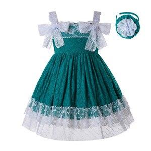 Image 1 - Pettigirl Nieuwste Groen Baby Meisjes Dresseslace Bloem Jurk Met Hoofddeksels En Bows Kids Mouwloze Zomer Kleding G DMGD201 C134