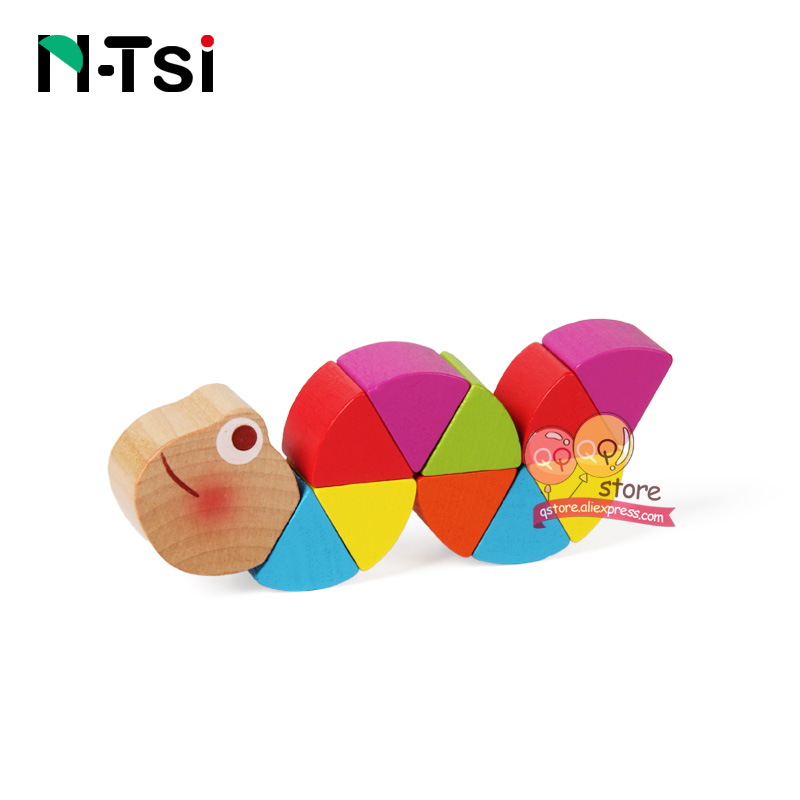 Colorful Wooden Worm Puzzles Kids Learning Educational Didactic Baby Development Toys Fingers Game For Children Montessori Gift #3