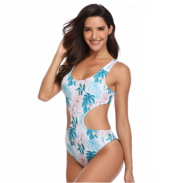 Sexy One Piece Swimsuit Double Sided Swimming Suit Women Monokini Beach Wear Female Push Up Swim Suit Printing Nylon Hollow Out (6)