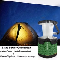 Salt Water Powered LED Lantern Brine Charging Travel Light Portable Eco Emergency Lights Lamp Camping Brine
