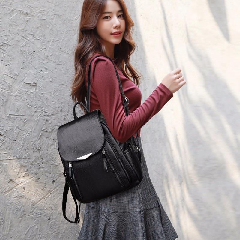 HTB1eXZzXdfvK1RjSszhq6AcGFXaL 2019 Women Leather Backpacks Female Shoulder Bag Sac A Dos Ladies Bagpack Vintage School Bags For Girls Travel Back Pack New