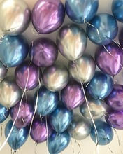 30pcs Metal Chrome Balloons Mixed Blue Silver Purple for Mermaid Birthday Baby Shower Party Decoration  Photo Prop