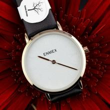 цена на 2019 Ladies gift Ultrathin case watch Enmex simple design leather  brief face gloden plating quartz fashion wristwatch
