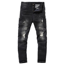 2017 spring Men's leisure fashion broken hole style baggy jeans Men of high quality jeans pockets Leisure trousers men