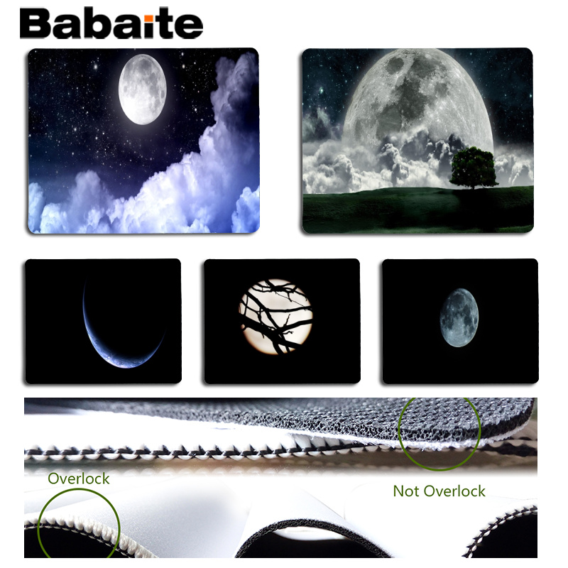 Babaite Boy Gift Pad Moon Large Mouse pad PC Computer mat Size for 18x22cm 25x29cm Rubber Mousemats
