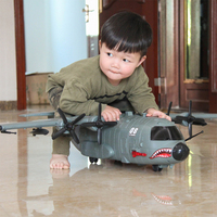 Children's large simulation military air transport aircraft with music lights manual sliding fighter shark plane model