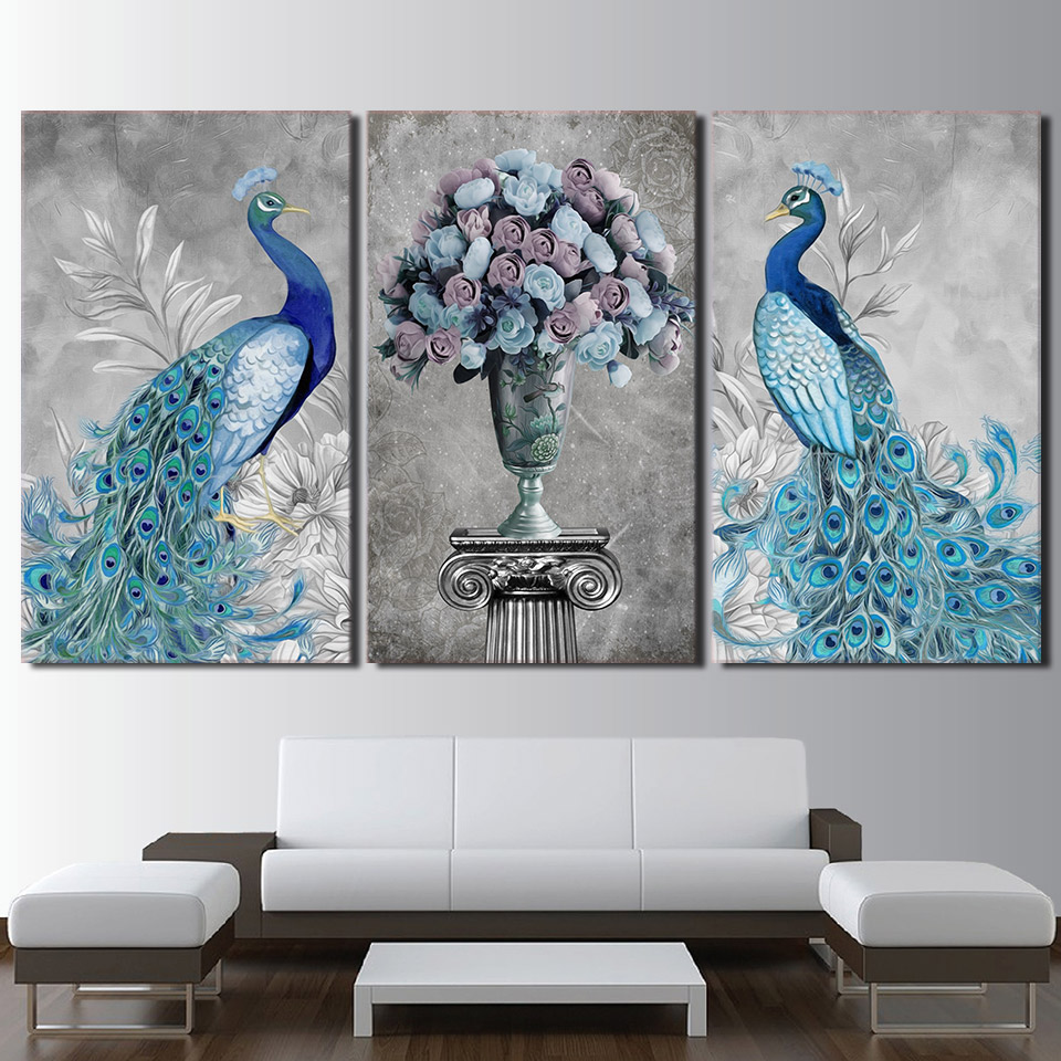 Canvas Art Frames Decor 3 Pieces Peacock Couple Painting Poster HD Printed Flowers Modern Prints Wall Modular Picture Kids Room