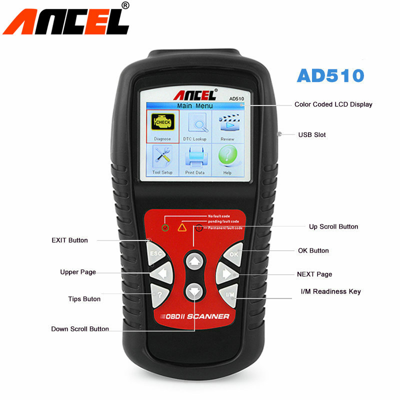 Code Readers Scan Tools ANCEL AD510 OBDII OBD2 Scanner Automotivo Escaner CAN Engine Analyzer Car Code Reader Diagnostic-Tool car obd scan diagnostic interface scan tool blue