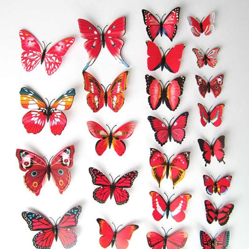 12 adet 3D Kırmızı/Beyaz Mıknatıs Kelebekler DIY Duvar Sticker Ev Dekor için Kelebek duvar Buzdolabı çıkartmalar düğün Dekorasyon