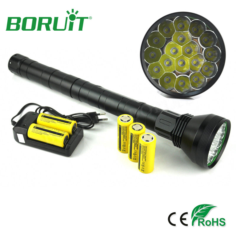 BORUiT 18 XM-L2 Powerful LED Flashlight 5-Mode Portable Tactical Flash Light Waterproof Aluminum Camping Hunting Torch Lanterna boruit powerful tactical 11 modes led flashlight 18650 xpl2 1800lm high power pocket light torch lanterna usb flashlamp camping