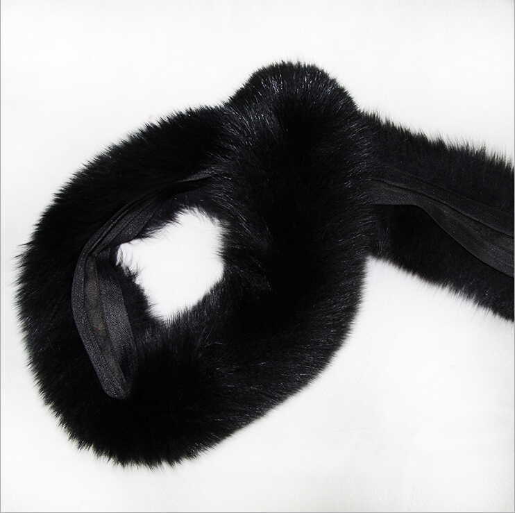 Wholesale black color fox fur trim real fur strips for hood