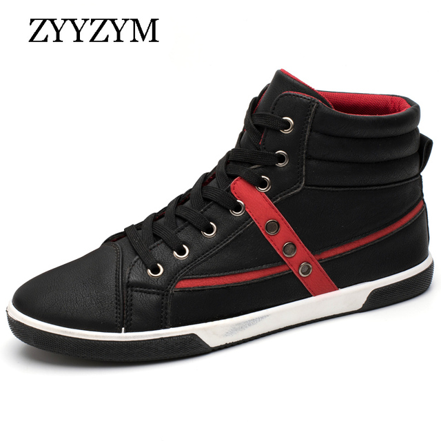 40bcbfd8b4e4 ZYYZYM 2018 Spring Men s Fashion Casual Shoes Trend Male Breathable Sneakers  Top Classic PU Leather Shoes