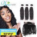 360 Lace Band Frontal With 3 Bundles Deep wave Hair Brazilian Virgin Hair With Closure 360 lace frontal closure with bundles