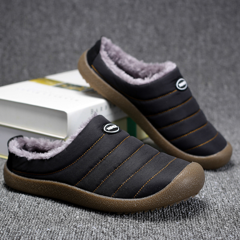 2018 Winter Men Home Slippers For Man Warm Plush Shoes New Casual Sneakers Soft Floor Striped Male Indoor Cotton Shoes Non-slip