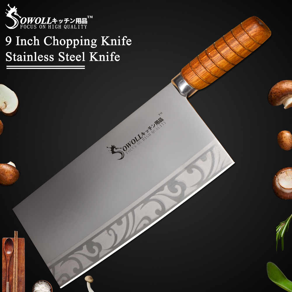 "Sowoll 9"" inch Stainless Steel Kitchen Knife Quality Chopping Knife For Cleaver Cooking Tool Best Gift Wood Handle Chef Knife"