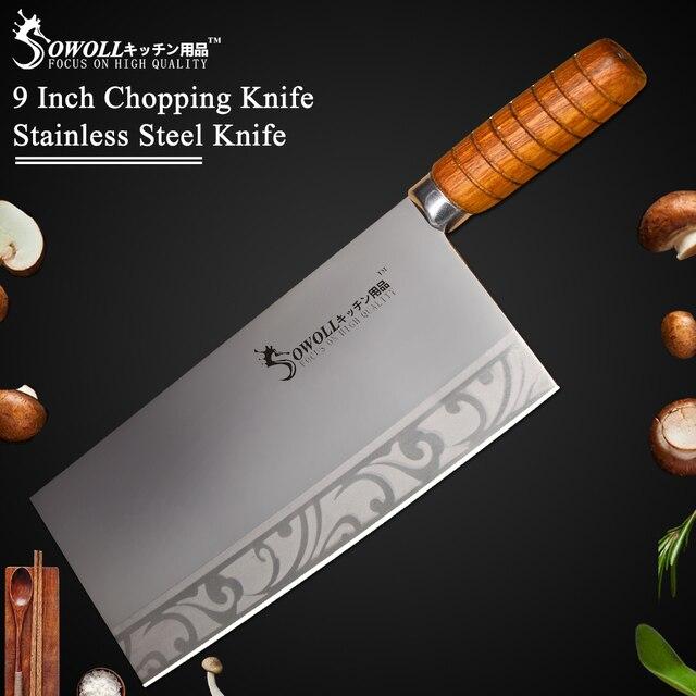 """Sowoll 9 """"polegada Qualidade da Faca Cortando Faca de Cozinha em Aço Inoxidável Para Cozinhar Ferramenta Melhor Presente de Madeira Handle Chef Cleaver faca"""