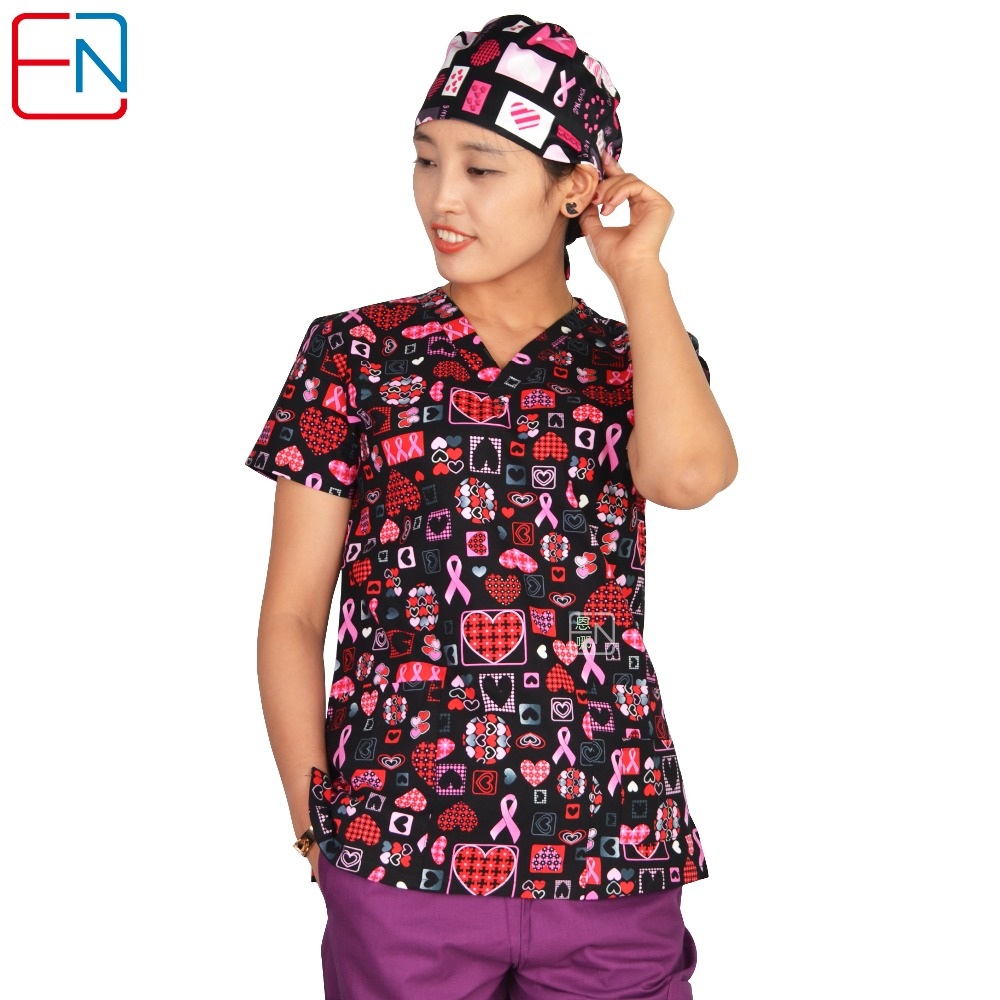 Hennar Women Medical Uniforms V-Neck Cartoon Print Klinisk Scrub Top Short Sleeve 100% Cotton Hospital Kirurgisk Scrubs Top
