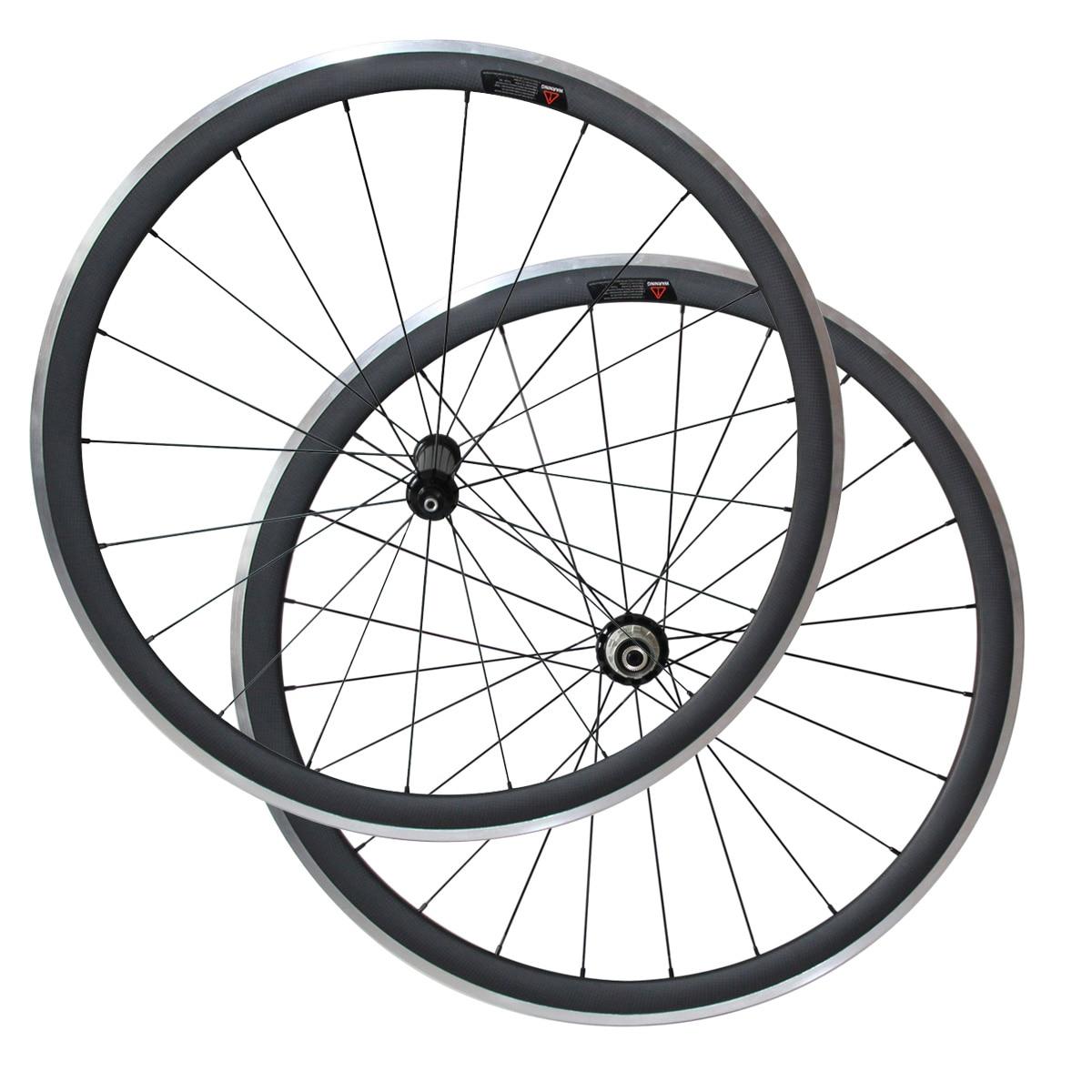 700C Road Bike Carbon Wheels 38mm Deep Clincher 23mm Wide V brake Rims with Aluminium Brake
