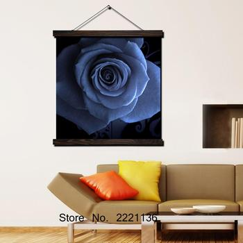 Blue Flower In the Eyes HD Print Scroll Paintings Wall Art Printed Hanging Framed Canvas Painting Modern Home Decoration