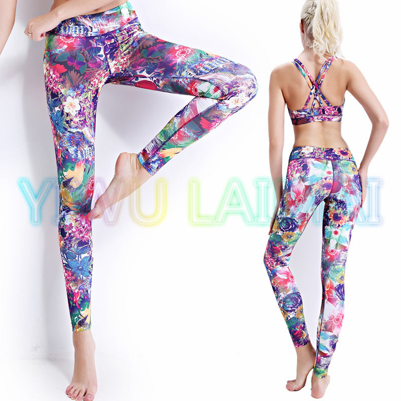 c6a41fe0915a7 JIGERJOGER 2016 VeryNEW arrival Thick Fabric Top Designer Brand floral  flowers blooming Sports leggings yoga pant workout Legin-in Yoga Pants from  Sports ...