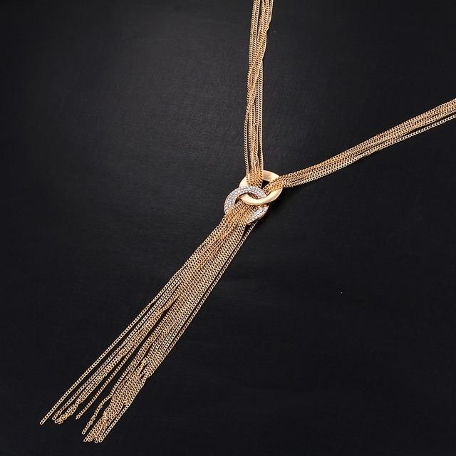 Women Gold Color Sweater Boho Love colar Maxi Necklaces