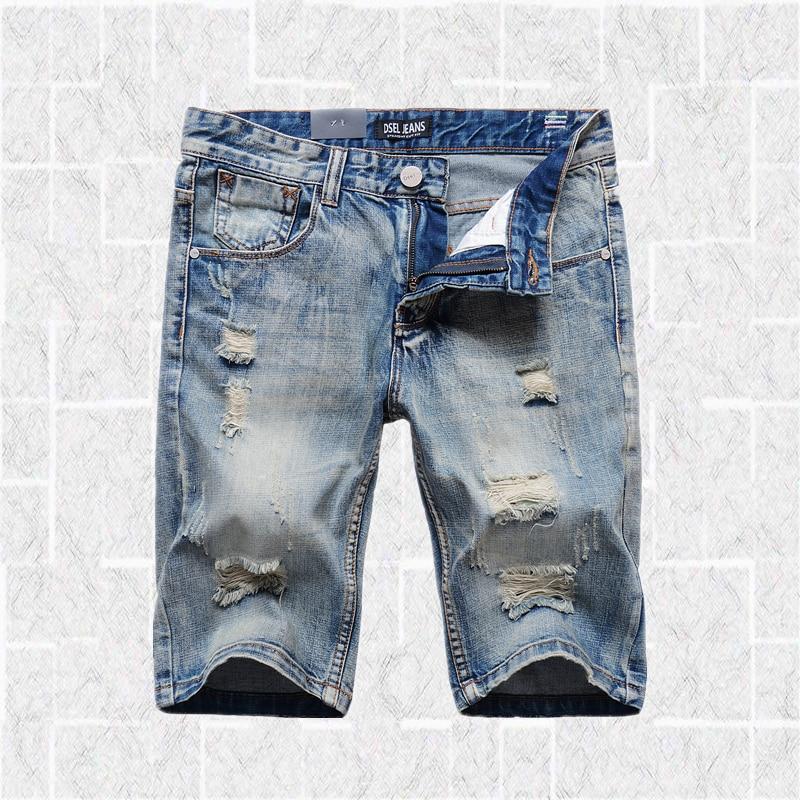 Hip Hop Light Blue Jeans Shorts Men High Quality Brand Slim Fit Knee Length Shorts Uomo Men`s Shorts Jeans Bermuda S1001 tommy hilfiger new royal blue women s 2 chino bermuda walking shorts $49 245