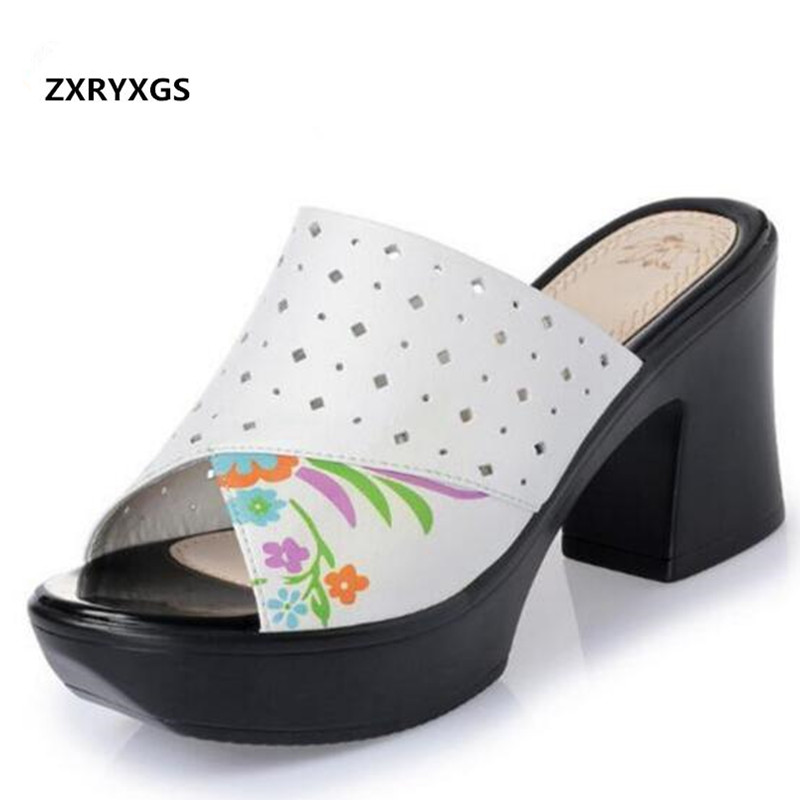 2019 Printed Genuine Leather Shoes Women Summer Sandals Platform High-heeled Sandals Spell Colors Fashion Sandals Women Slippers2019 Printed Genuine Leather Shoes Women Summer Sandals Platform High-heeled Sandals Spell Colors Fashion Sandals Women Slippers